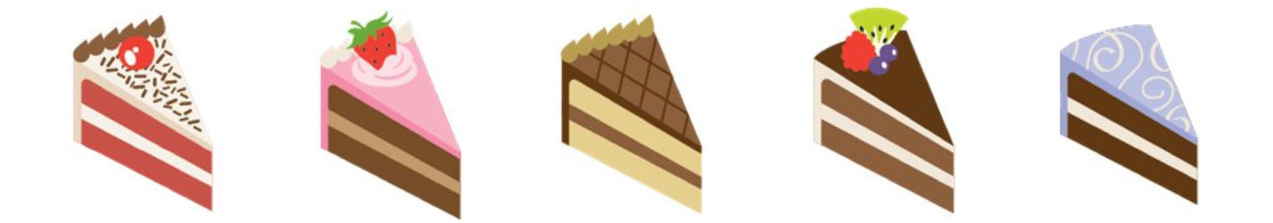 illustrations of slices of various flavored cakes