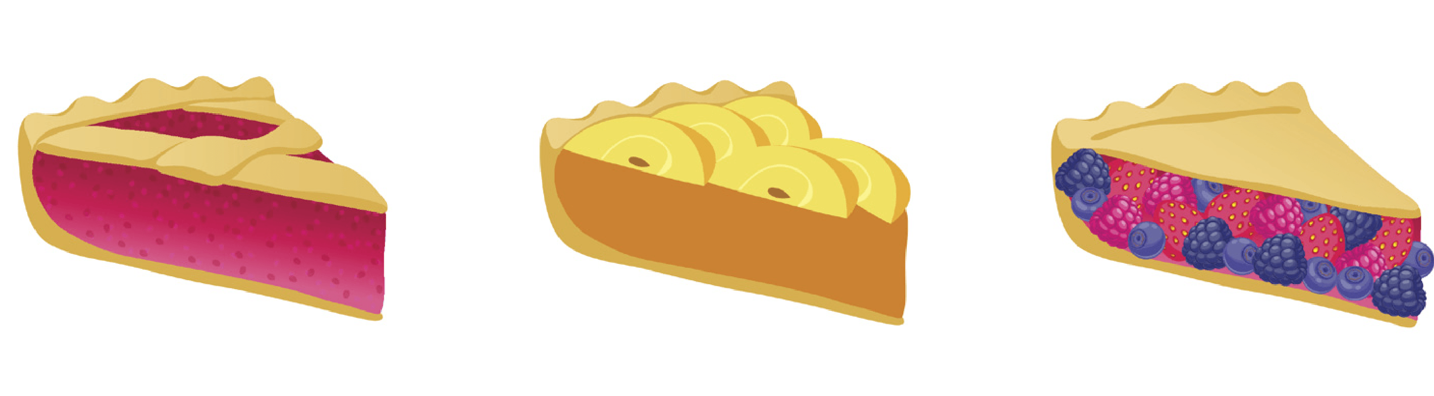 illustrations of slices of various flavored pies